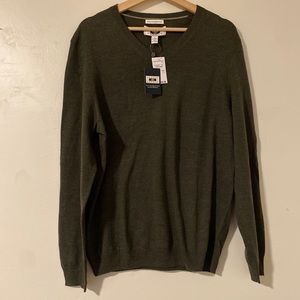 Joseph Abboud Green V Neck Merino Wool Sweater, L